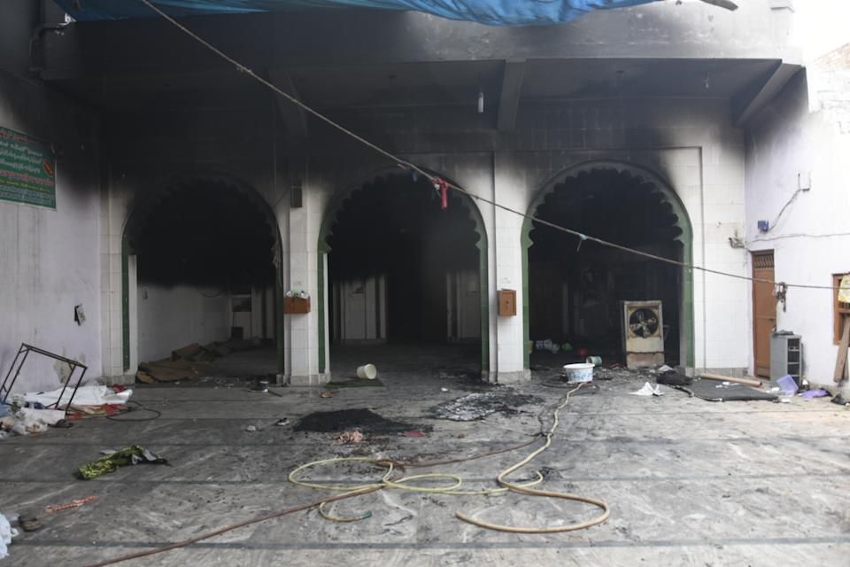 DELHI, INDIA - FEBRUARY 26 : An inside view of damaged and burnt Farooquiya Madrasah following the Citizenship Amendment Act (CAA) clashes in Mustafabad, Delhi, India on February 26, 2020. (Photo by Javed Sultan/Anadolu Agency via Getty Images)