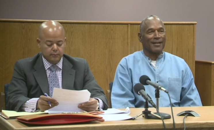 O.J. Simpson and his lawyer appear at a parole hearing Thursday.