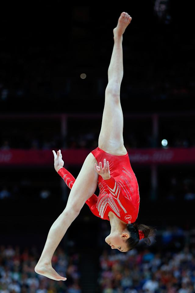 LONDON, ENGLAND - JULY 31: Kyla Ross of the United States competes on the balance beam in the Artistic Gymnastics Women's Team final on Day 4 of the London 2012 Olympic Games at North Greenwich Arena on July 31, 2012 in London, England. (Photo by Jamie Squire/Getty Images)