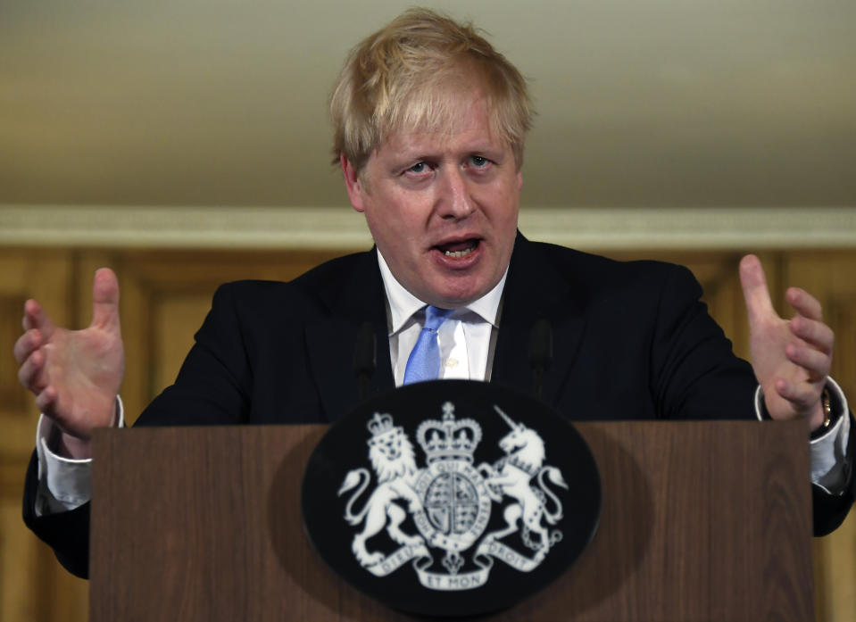LONDON, ENGLAND - MARCH 09: UK Prime Minister Boris Johnson speaks and takes questions during a press conference in Downing Street regarding the coronavirus outbreak, on March 9, 2020. in London, England. (Alberto Pezzali - WPA Pool/Getty Images)