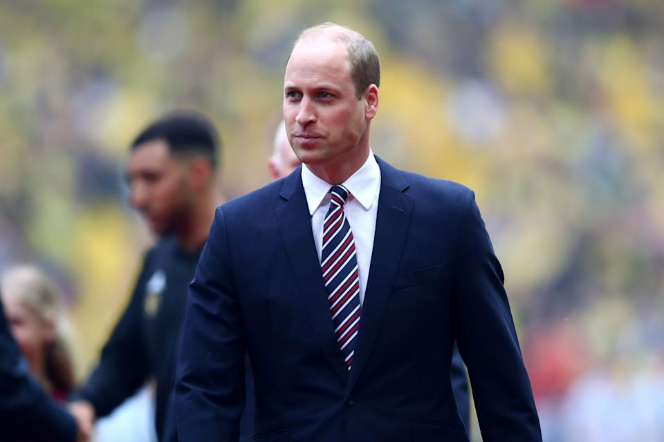 Prince William attends a soccer match on May 18, 2019, at Wembley Stadium in London. (Photo: Julian Finney/Getty Images)