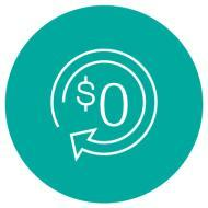 icon: circular arrow with dollar sign inside and zero