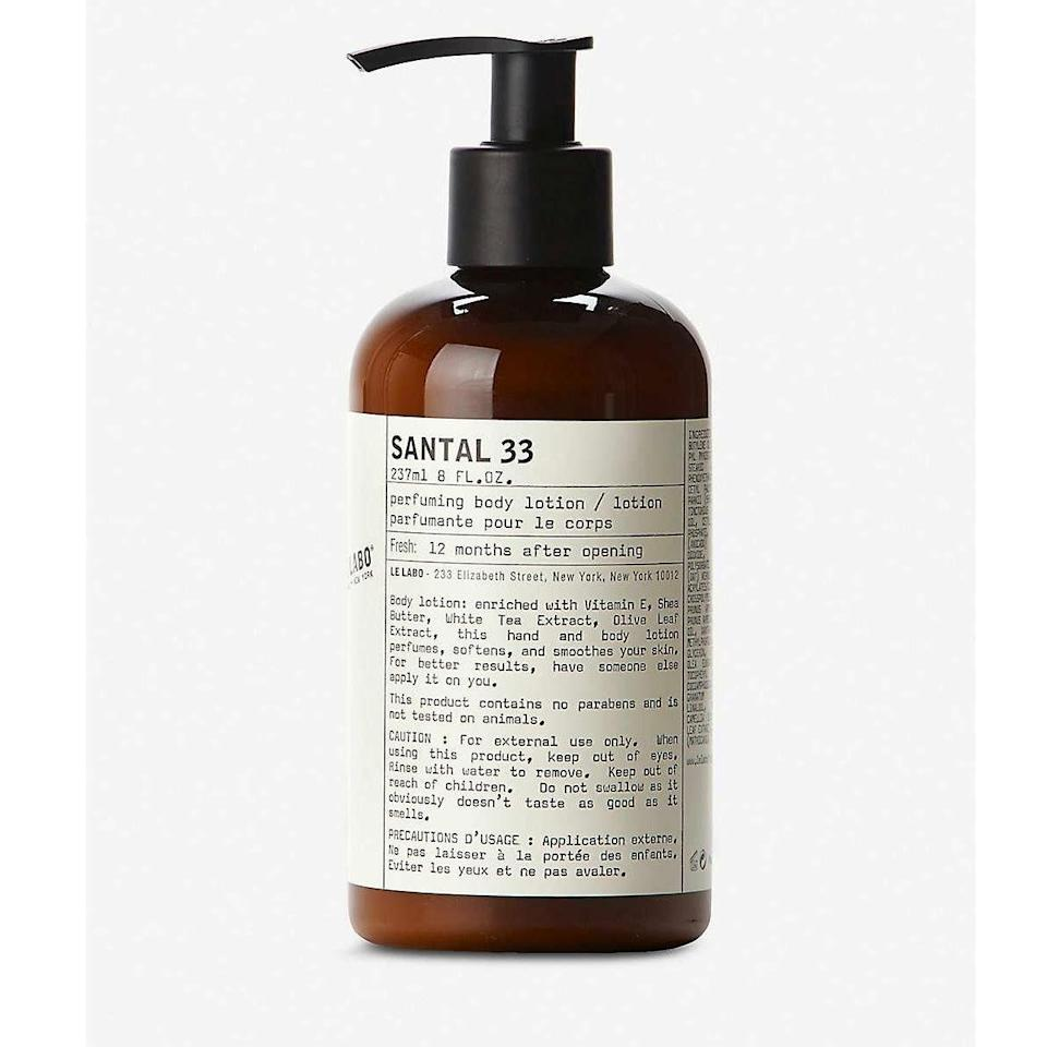 """Normally I'd see the price tag on Le Labo and run away screaming, but I was lucky enough to stay at a hotel that uses the brand...and I was hooked. The lotion leaves my hands so soft, and the scent reminds me of my grandmother. You can't put a price tag on that. —<em>Anna Moeslein, senior editor</em> $32, Nordstrom. <a href=""""https://m.shop.nordstrom.com/s/le-labo-santal-33-hand-body-lotion/4338933/lite"""" rel=""""nofollow noopener"""" target=""""_blank"""" data-ylk=""""slk:Get it now!"""" class=""""link rapid-noclick-resp"""">Get it now!</a>"""