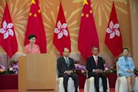 Hong Kong Chief Executive Carrie Lam hailed her city's 'return to peace'