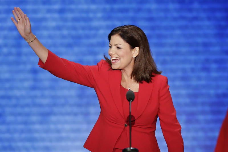 Sen. Kelly Ayotte, R-N.H., waves to the delegates before addressing the Republican National Convention in Tampa, Fla., on Tuesday, Aug. 28, 2012. (AP Photo/J. Scott Applewhite)