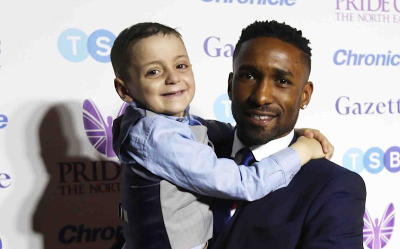 Bradley Lowery collected his Child of Courage award with Sunderland Striker Jermain Defoe - ncjMedia Ltd , , ,