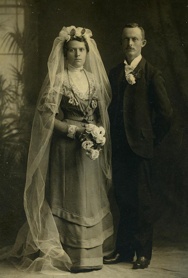 """<p>These fascinating wedding photographs from the 1800s show just how different the approach to shooting one's special day was two centuries ago. (Pictured: Vintage wedding portraits from """"I Do, I Do"""" exhibit) </p>"""