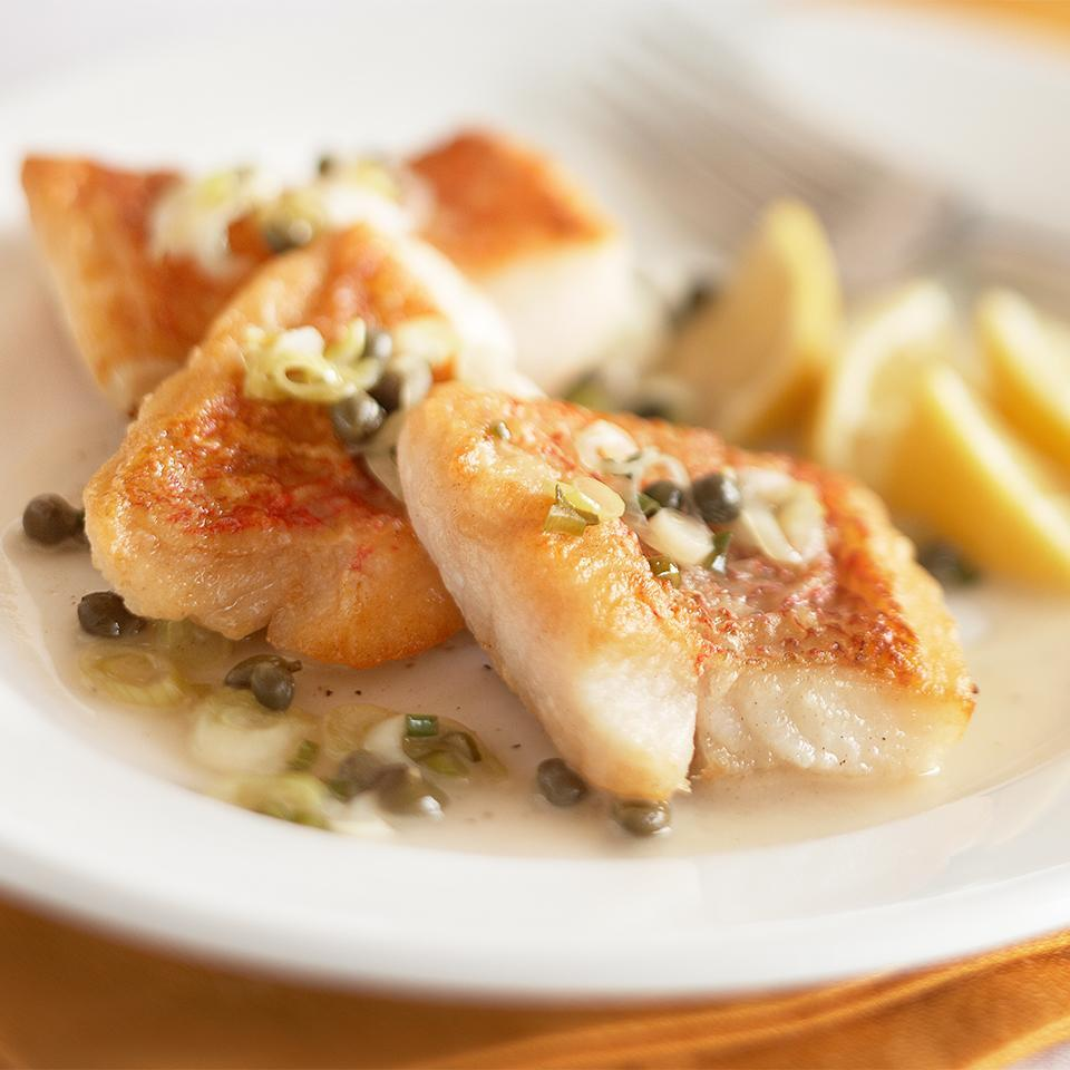 "<p>Lean snapper in a buttery lemon-caper sauce is a simple main dish, ready in just 30 minutes. <a href=""http://www.eatingwell.com/recipe/265243/snapper-piccata/"" rel=""nofollow noopener"" target=""_blank"" data-ylk=""slk:View recipe"" class=""link rapid-noclick-resp""> View recipe </a></p>"