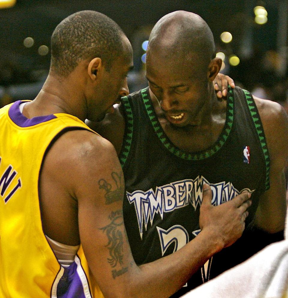 Kobe Bryant and Kevin Garnett share a few words after the Lakers beat the Timberwolves at Staples Center in 2006.