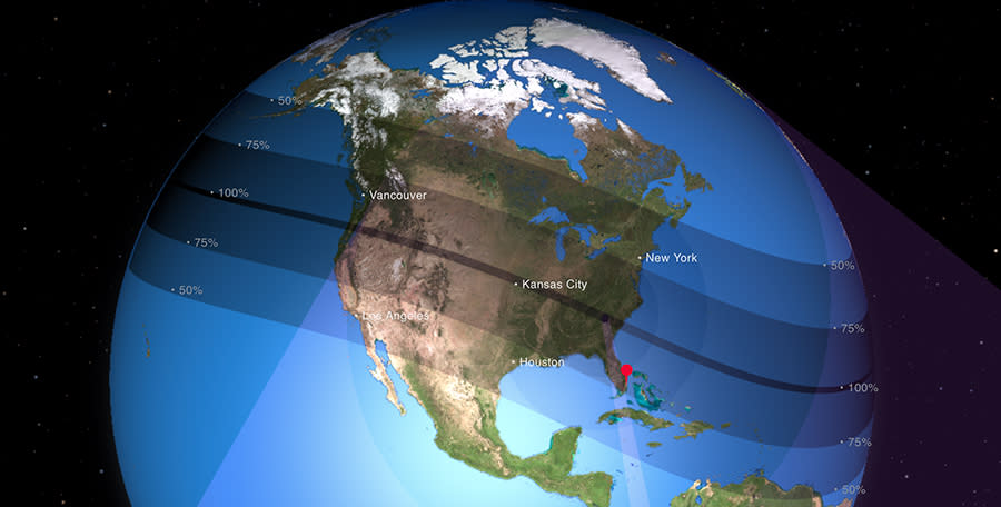 """The """"path of totality"""" during this week's solar eclipse crossed the entire United States. (NASA.gov)"""