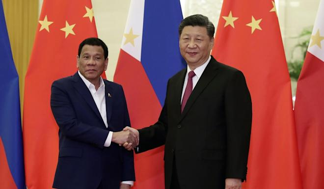 Philippine President Rodrigo Duterte, pictured with Chinese President Xi Jinping, has made six visits to China in the past four years. Photo: AP