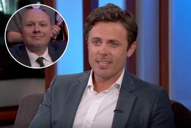 Casey Affleck brought his new friend, Officer Bivens, to <em>Jimmy Kimmel Live</em> as a thank you. (Photo: Jimmy Kimmel Live)