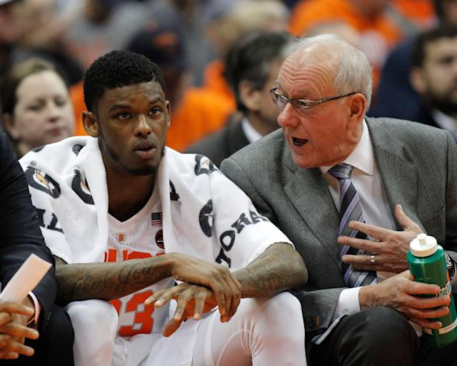 Jim Boeheim will be without Frank Howard for Syracuse's NCAA tournament opener against Baylor on Thursday due to suspension. (AP)