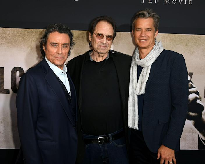 """LOS ANGELES, CALIFORNIA - MAY 14: (L-R) Ian McShane, David Milch and Timothy Olyphant arrive at the premiere of HBO's """"Deadwood"""" at The Cinerama Dome on May 14, 2019 in Los Angeles, California. (Photo by Kevin Winter/Getty Images) ORG XMIT: 775337881 ORIG FILE ID: 1149245723"""