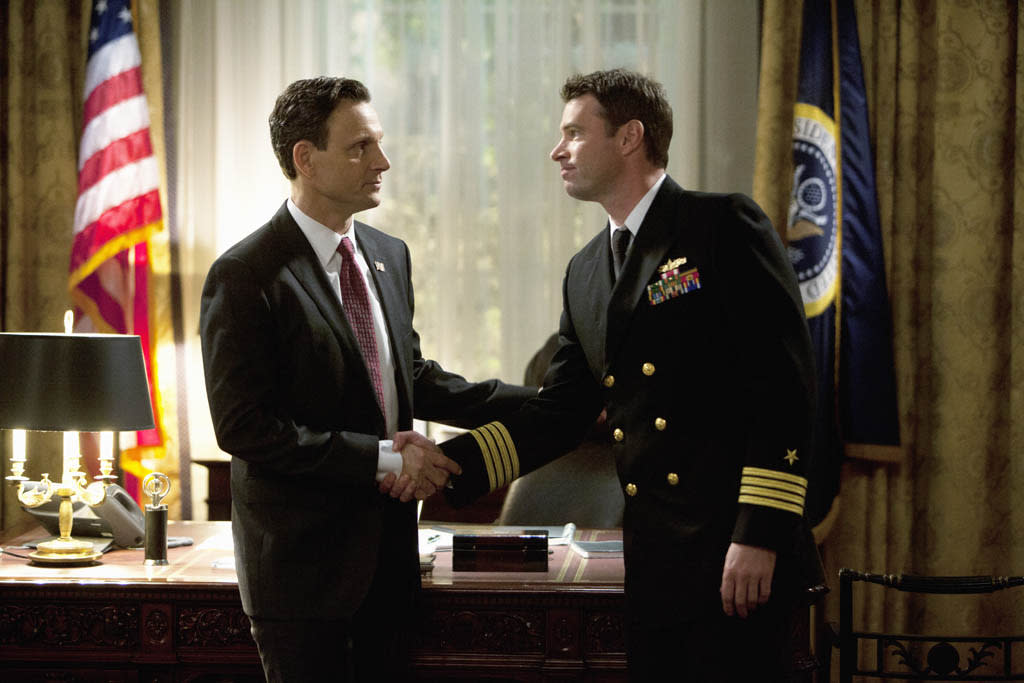 """""""Top of the Hour"""" - Olivia finds herself in the middle of a media storm, but this time she's on the opposing side of the oval office when Fitz's pick for Supreme Court Justice is caught in a torrid affair with Liv's new client, high-powered CEO Sarah Stanner (Lisa Edelstein). Meanwhile, Olivia and Jake continue their flirtatious relationship, while Huck takes Quinn under his wing and Harrison and Abby try to figure out where they stand with their friendship. Back in the White House, Cyrus and Mellie continue to fight for Fitz's attention, but someone else may already have it, on ABC's """"Scandal."""""""