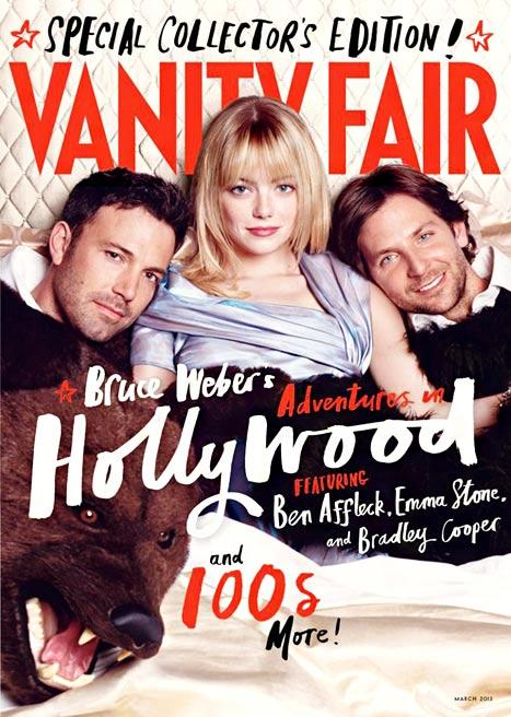 Emma Stone Cuddles in Bed With Ben Affleck, Bradley Cooper on Vanity Fair Cover