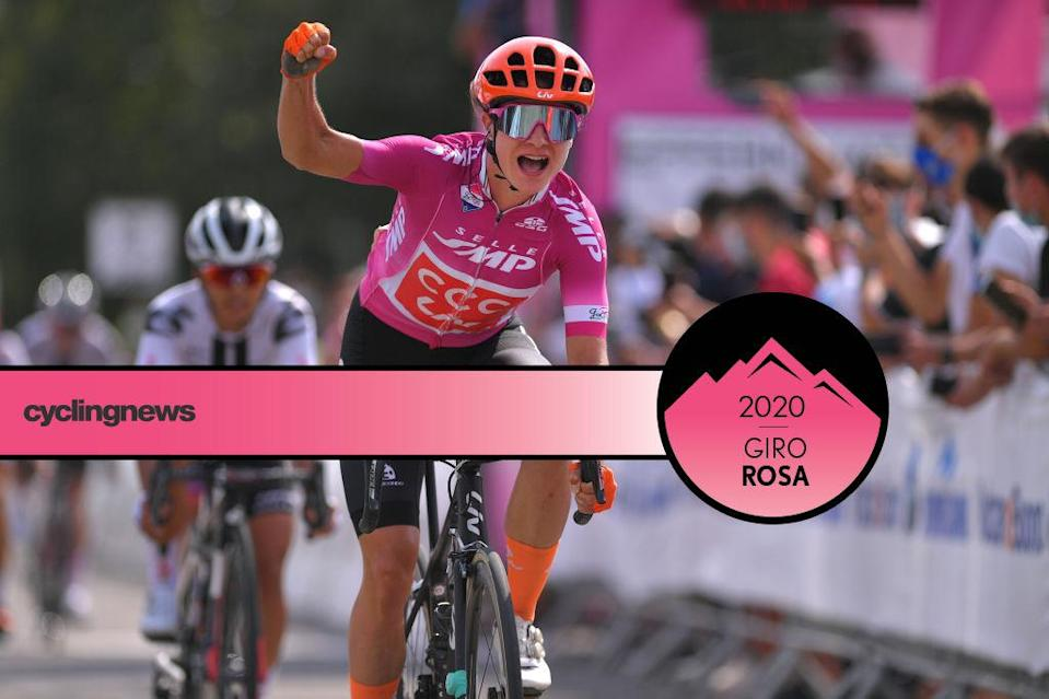 NOLA, ITALY - SEPTEMBER 16: Arrival / Marianne Vos of The Netherlands and Team CCC - Liv Points Jersey / Celebration / during the 31st Giro d'Italia Internazionale Femminile 2020, Stage 6 a 97,5km stage from Torre del Greco to Nola / @GiroRosaIccrea / #GiroRosa / on September 16, 2020 in Nola, Italy. (Photo by Luc Claessen/Getty Images)