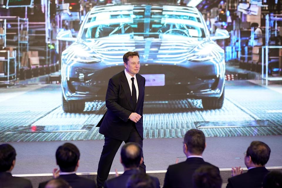 Tesla Inc CEO Elon Musk attends an opening ceremony for Tesla China-made Model Y program in Shanghai, China January 7, 2020. REUTERS/Aly Song