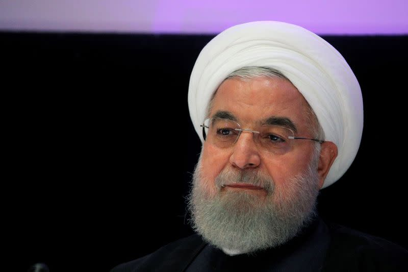 FILE PHOTO: Iranian President Hassan Rouhani speaks at a news conference in New York
