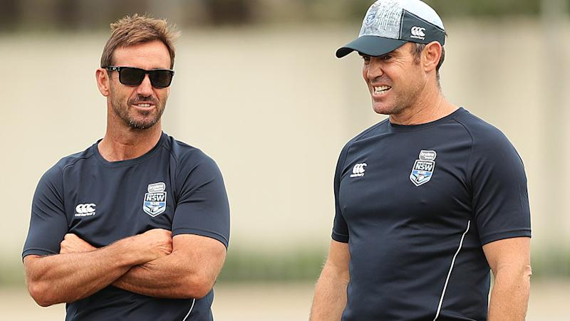 Andrew Johns and Brad Fittler, pictured here in NSW State of Origin camp in 2019.
