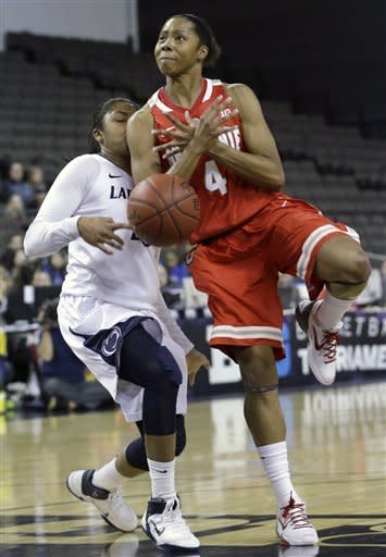 Ohio State guard Tayler Hill, right, can't control the ball against Penn State guard Alex Bentley during the first half of an NCAA women's college basketball game in the Big Ten Conference tournament in Hoffman Estates, Ill., on Friday, March 8, 2013. (AP Photo/Nam Y. Huh)