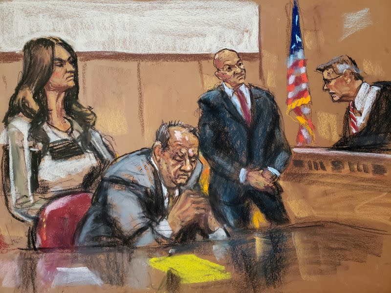 Judge James Burke scolds film producer Harvey Weinstein as he sits beside lawyers Donna Rotunno and Arthur Aidala