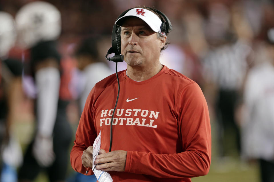 Houston head coach Dana Holgorsen during the second half of an NCAA college football game against SMU Thursday, Oct. 24, 2019, in Houston. (AP Photo/Michael Wyke)