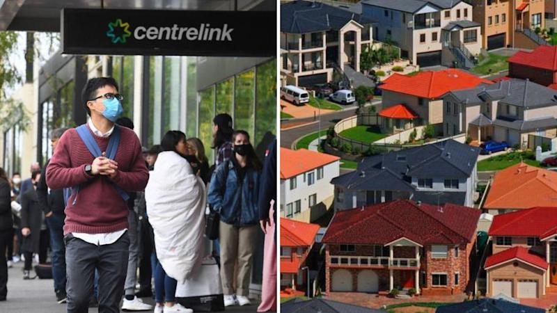 A long queue at a Centrelink office on the left, and large residential houses in western Sydney on the right.