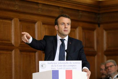 French President Emmanuel Macron delivers a speech during the Court of Auditors solemn hearing in Paris