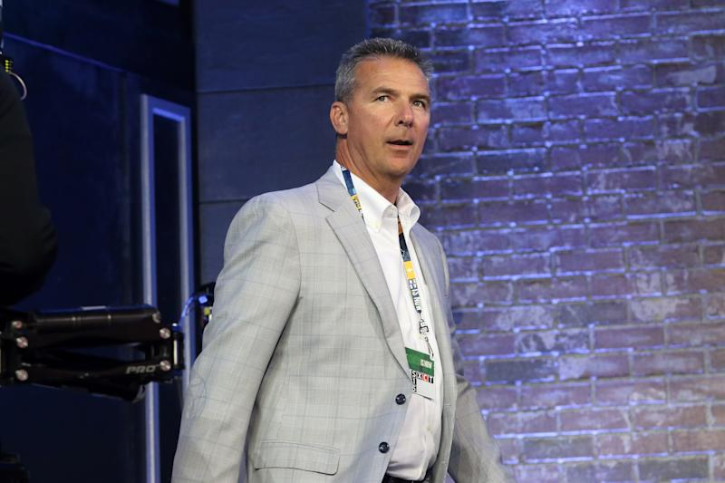 NASHVILLE, TN - APRIL 25: Urban Meyer during the first round of the 2019 NFL Draft on April 25, 2019, at the Draft Main Stage on Lower Broadway in downtown Nashville, TN. (Photo by Michael Wade/Icon Sportswire via Getty Images)