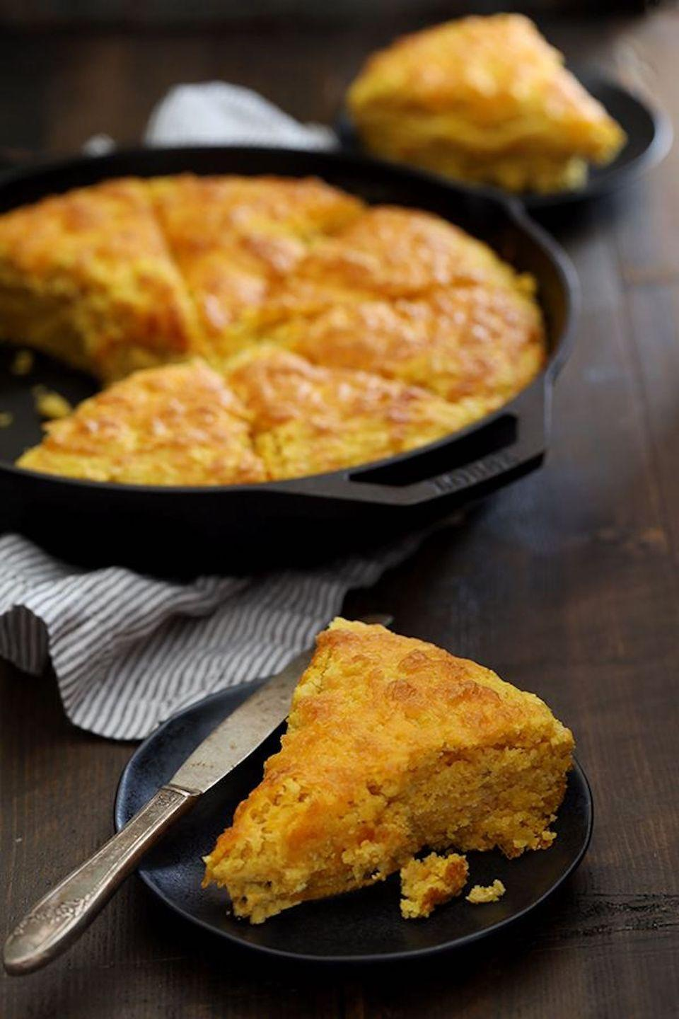 """<p>Put a sweet, seasonal twist on your favorite comfort food.</p><p><strong>Get the recipe at <a href=""""http://melaniemakes.com/blog/2016/10/pumpkin-cream-cheese-skillet-cornbread.html"""" rel=""""nofollow noopener"""" target=""""_blank"""" data-ylk=""""slk:Melanie Makes"""" class=""""link rapid-noclick-resp"""">Melanie Makes</a>. </strong><br></p><p><a class=""""link rapid-noclick-resp"""" href=""""https://www.amazon.com/Victoria-Skillet-Seasoned-Flaxseed-Certified/dp/B01726HD72/?tag=syn-yahoo-20&ascsubtag=%5Bartid%7C10050.g.619%5Bsrc%7Cyahoo-us"""" rel=""""nofollow noopener"""" target=""""_blank"""" data-ylk=""""slk:SHOP CAST IRON SKILLETS"""">SHOP CAST IRON SKILLETS</a></p>"""