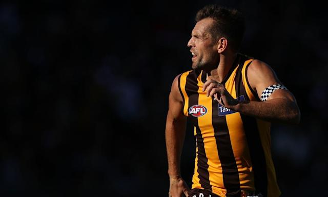 """<span class=""""element-image__caption"""">Compounding matters for Hawthorn, the day is not too far away when the club's leadership and culture has a Luke Hodge-shaped hole.</span> <span class=""""element-image__credit"""">Photograph: Robert Cianflone/Getty Images</span>"""