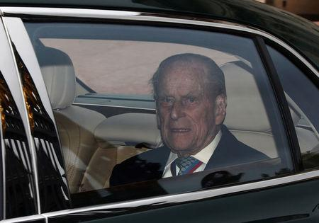 Britain's Prince Philip leaves Buckingham Palace in London
