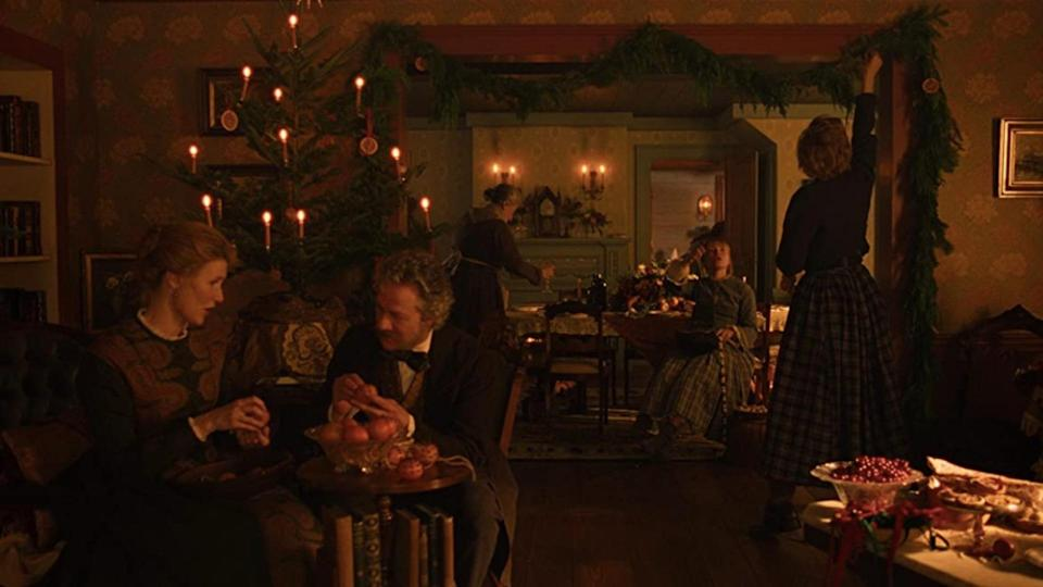 <p> There&#x2019;s not one, but two Christmas scenes in this movie, plus it was released in cinemas on Christmas Day in 2019 &#x2013; what more do you want? Little Women is just a barrage of festive wholesomeness. Of course, there&#x2019;s the 1994 version starring Winona Ryder too, but we&#x2019;re talking about the Greta Gerwig adaptation. The small ladies in question are played by Saoirse Ronan, Florence Pugh, Eliza Scanlen and Emma Watson, with Laura Dern as Marmee. Plus, the two Christmas scenes aren&#x2019;t just nice to watch, they also highlight the changes in the March family over time, so they&#x2019;re vital to the plot. </p>