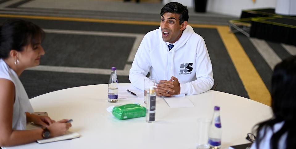 Britain's chancellor of the exchequer Rishi Sunak speaks during the launch of the government's new Kickstart employment scheme, in London, on 2 September. Photo: Daniel Leal-Olivas/Reuters