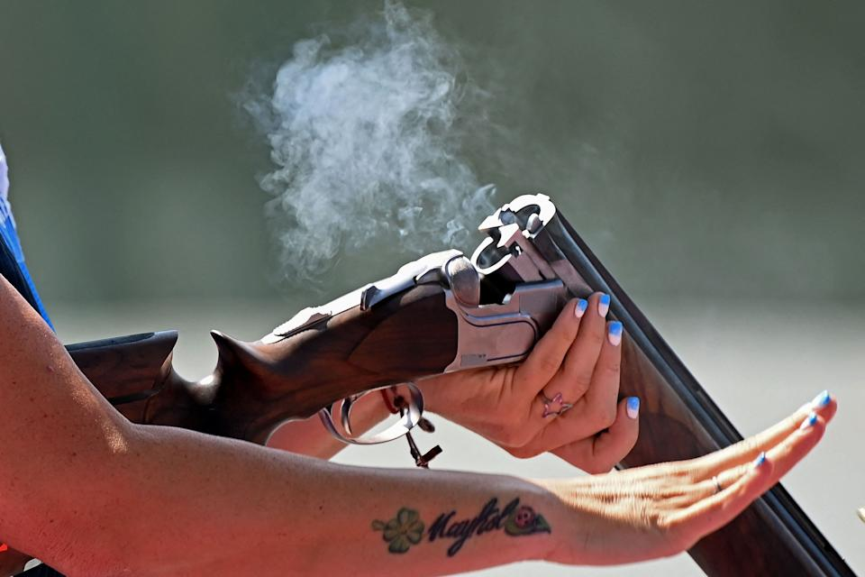 <p>San Marino's Alessandra Perilli competes in the women's trap qualification during the Tokyo 2020 Olympic Games at the Asaka Shooting Range in the Nerima district of Tokyo on July 28, 2021. (Photo by Tauseef MUSTAFA / AFP)</p>