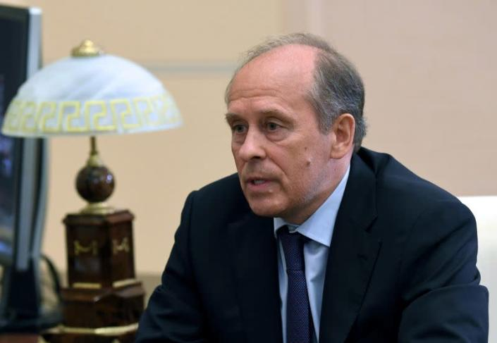 Russian President Putin meets with Federal Security Service (FSB) Director Bortnikov outside Moscow