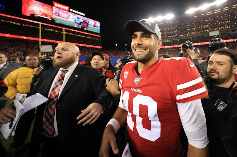 Jimmy Garoppolo and the San Francisco 49ers are headed to Super Bowl LIV. (Sean M. Haffey/Getty Images)