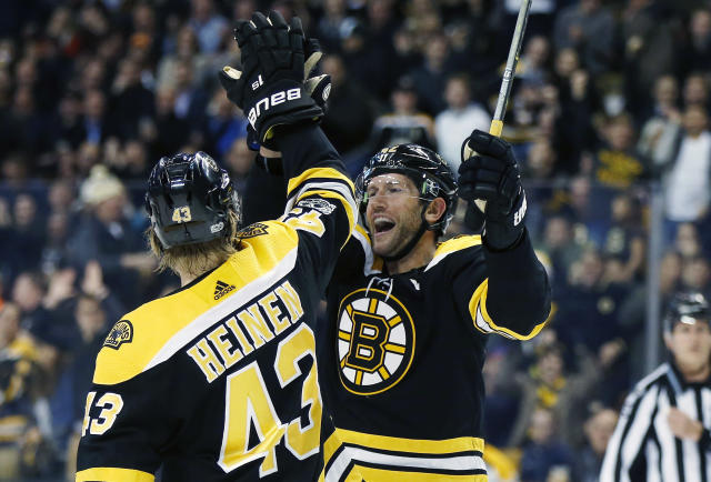 "<a class=""link rapid-noclick-resp"" href=""/nhl/teams/bos/"" data-ylk=""slk:Boston Bruins"">Boston Bruins</a>' <a class=""link rapid-noclick-resp"" href=""/nhl/players/3861/"" data-ylk=""slk:David Backes"">David Backes</a> has found his groove of late. (AP Photo/Michael Dwyer)"