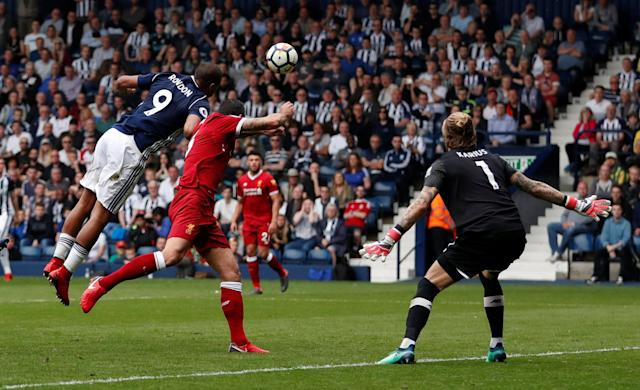 """Soccer Football - Premier League - West Bromwich Albion v Liverpool - The Hawthorns, West Bromwich, Britain - April 21, 2018 West Bromwich Albion's Salomon Rondon scores their second goal Action Images via Reuters/Andrew Boyers EDITORIAL USE ONLY. No use with unauthorized audio, video, data, fixture lists, club/league logos or """"live"""" services. Online in-match use limited to 75 images, no video emulation. No use in betting, games or single club/league/player publications. Please contact your account representative for further details."""