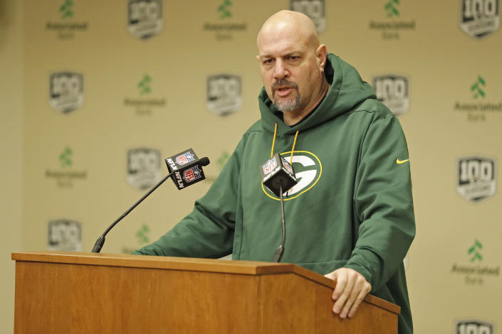 FILE - In this Feb. 18, 2019, file photo, Green Bay Packers' defensive coordinator Mike Pettine addresses the media during a news conference in Green Bay, Wisc. Pettine and special teams coordinator Shawn Mennenga have been fired after the team's second straight NFC championship game loss. Packers coach Matt LaFleur made the announcement Friday, Jan. 29, 2021. (AP Photo/Matt Ludtke, File)