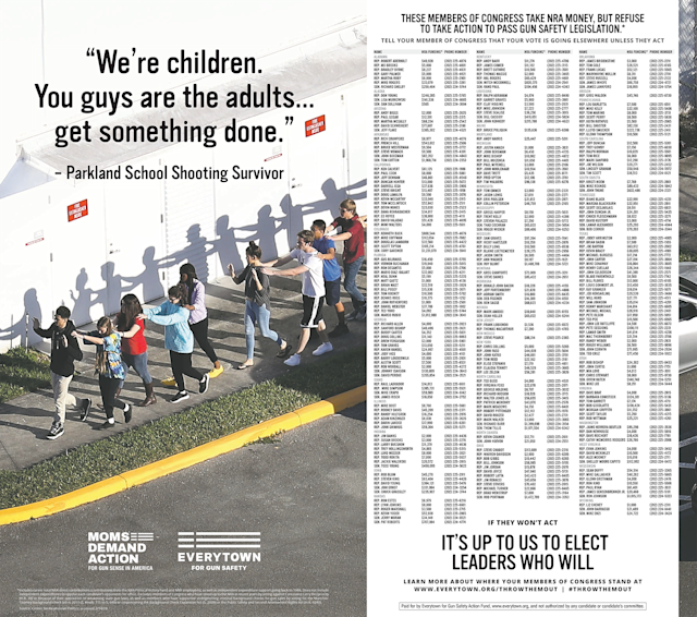 Everytown for Gun Safety took out this two-page ad in the New York Times on Wednesday. (Courtesy Everytown.org)