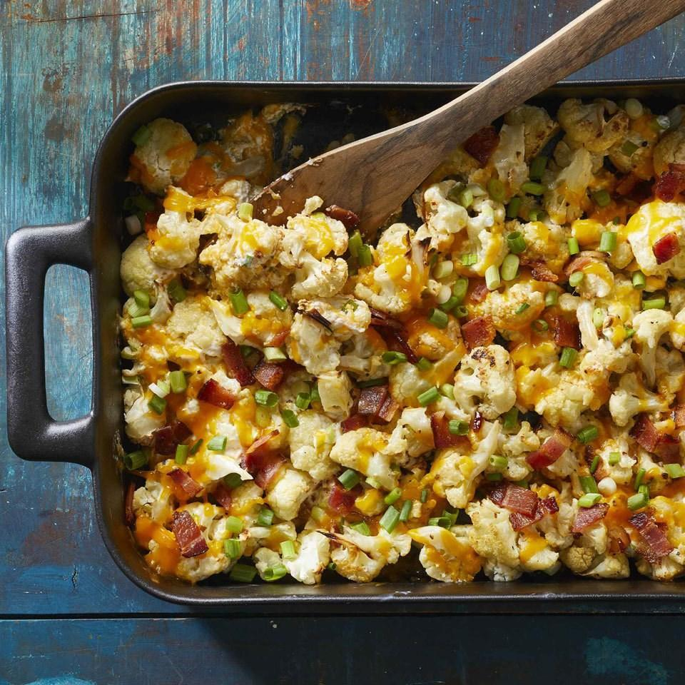 <p>You'll never want to eat roasted cauliflower any other way once you try this tasty recipe. Bacon, sour cream and sharp Cheddar cheese coat good-for-you cauliflower in deliciousness for an easy side that will make everyone actually want to eat their vegetables.</p>