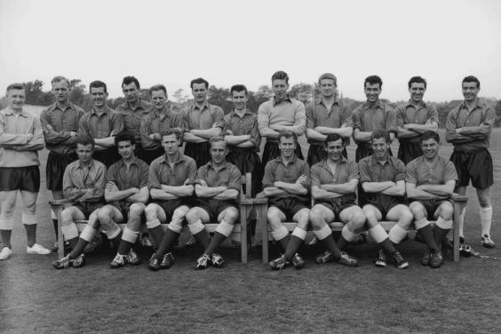 With the England squad in 1958, third from left, front row (Getty)