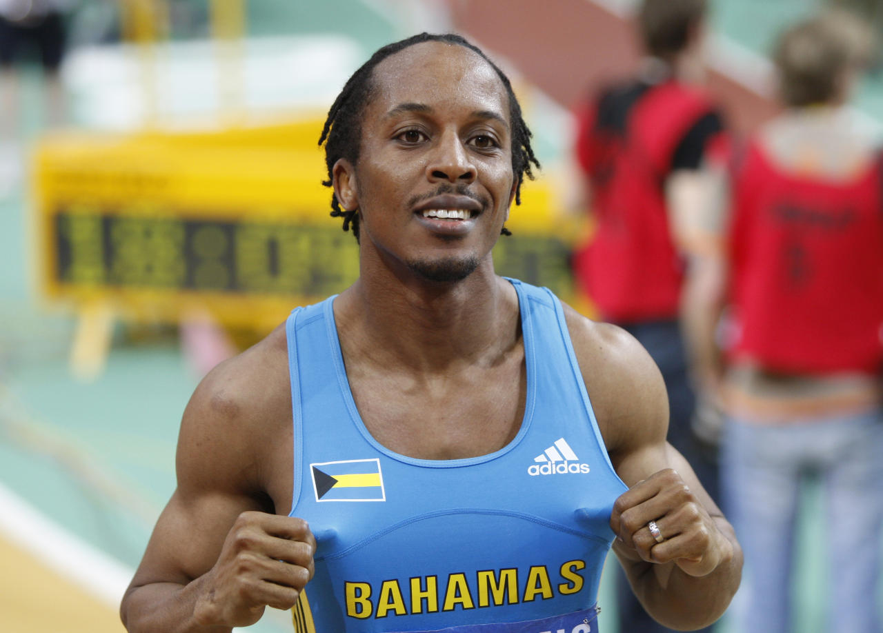 Bahama's Chris Brown celebrates after winning the Men's 400m final at the 13th IAAF World Indoor Athletics Championships in Saturday, March 13, 2010 in Doha, Qatar.(AP Photo/Hassan Ammar)