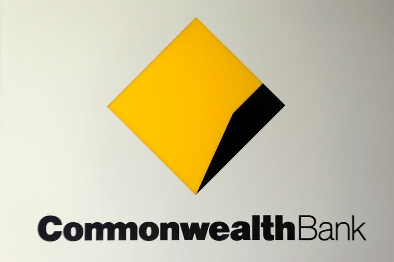 FILE PHOTO: The Commonwealth Bank (CBA) logo is pictured at the Australian bank's headquarters in Sydney