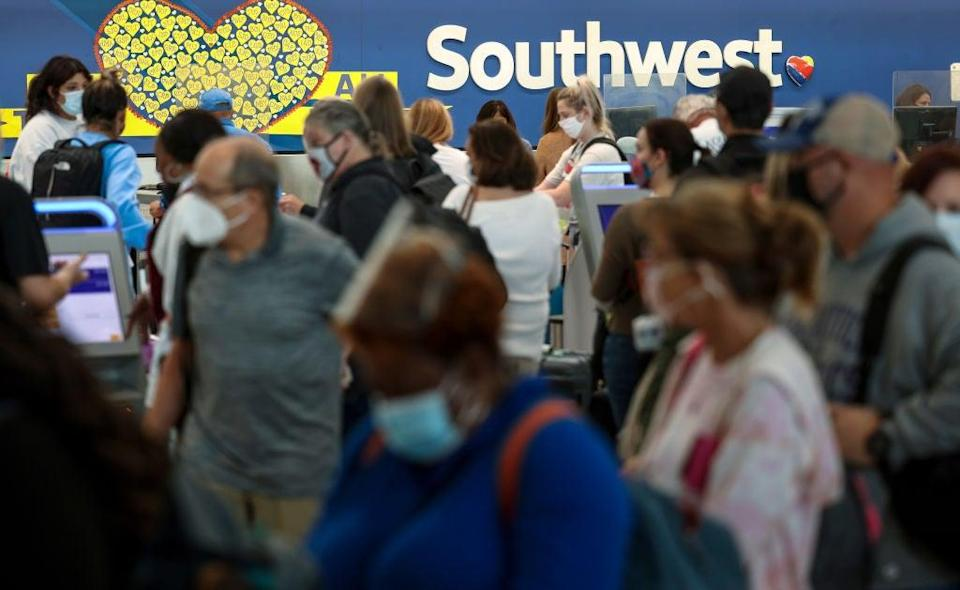 Southwest Airlines plays catch up in Baltimore, Maryland after canceling hundreds of flights, blaming air traffic control issues and weather (Getty Images)