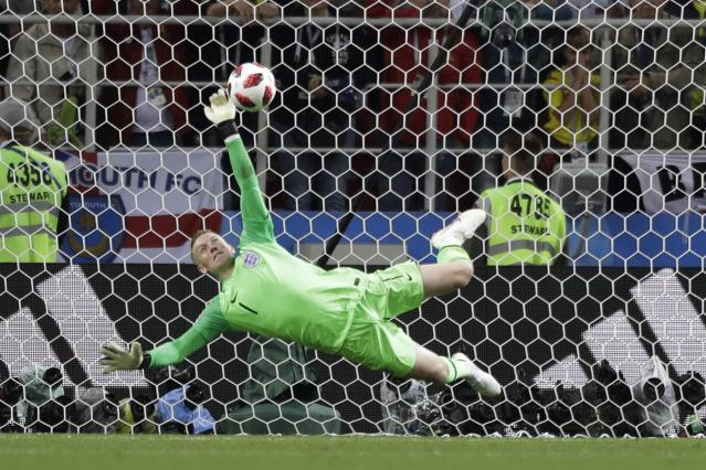 England goalkeeper Jordan Pickford makes his decisive penalty save against Colombia in the 2018 World Cup Round of 16. (AP)