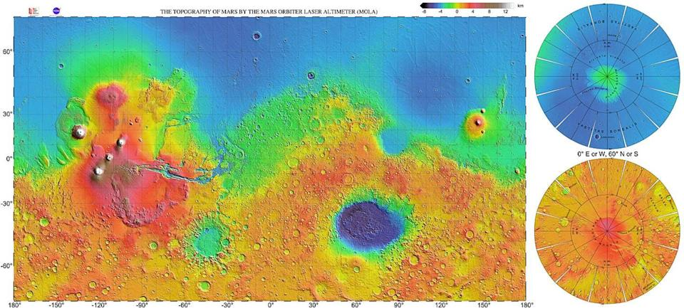 a map the surface of mars that uses rainbow colours