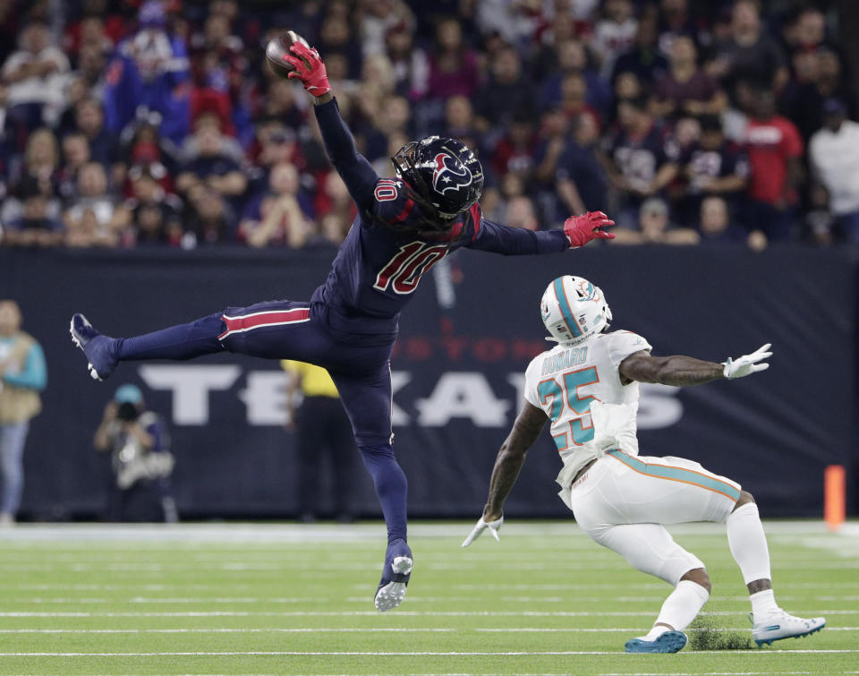 Deandre Hopkins had one of the NFL's best plays this season wiped out on a technicality. (AP)